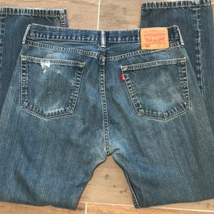 Levi's 505 Red Tab Distressed Straight Leg Jeans